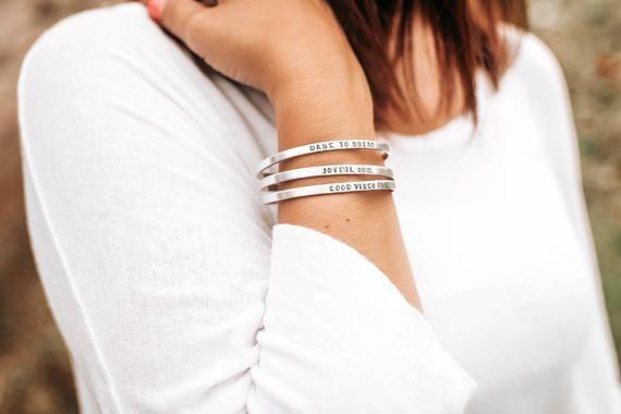 Photo of Personalized Bracelet, Dainty Jewelry, Custom Word Bracelet, Boho Cuffs, Mantra Bracelets, Minimalis
