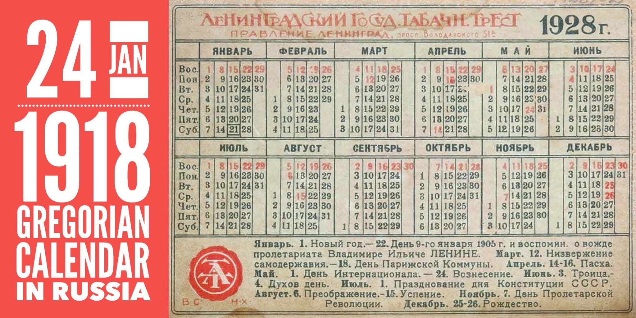 24 January 1918 Gregorian Calendar Is Introduced In Russia By