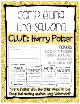 Completing The Square Harry Potter Clues Math High School