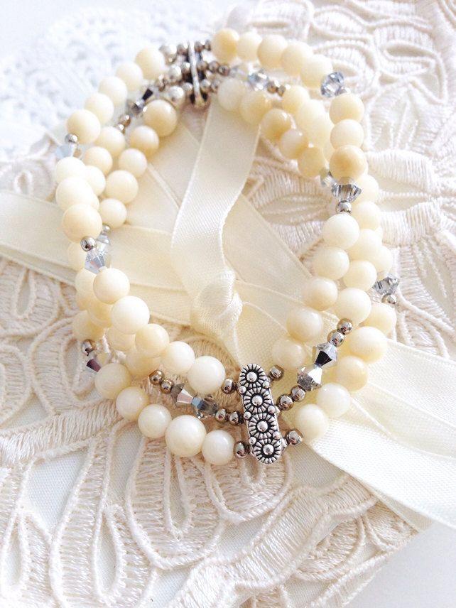 Beige Coral Silver Crystal Bracelet/ Vintage by daydreamsandirony, $48.00