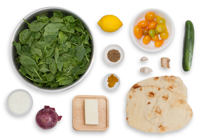 Palak Paneer with Naan Bread & Kachumber Salad ingredients