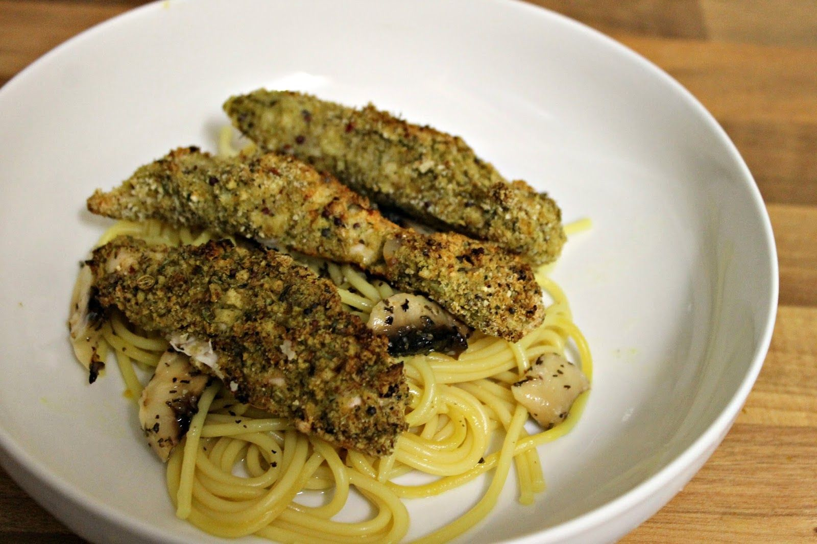 Cocktails in Teacups: #534 Lemon & Mustard Crumb Chicken with Spaghetti Recipe