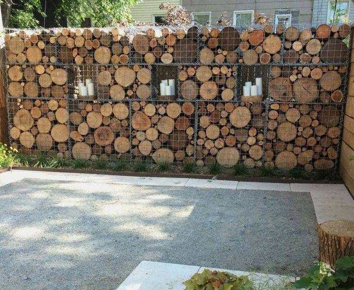 log filled gabion garden feature wall http://www.gabion1.com
