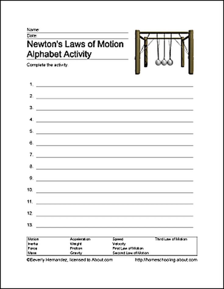 Fun Ways To Learn About Newtons Laws Of Motion Word Search