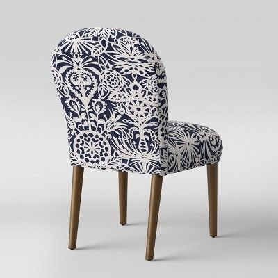 Caracara Rounded Back Dining Chair Navy White Floral Opalhouse