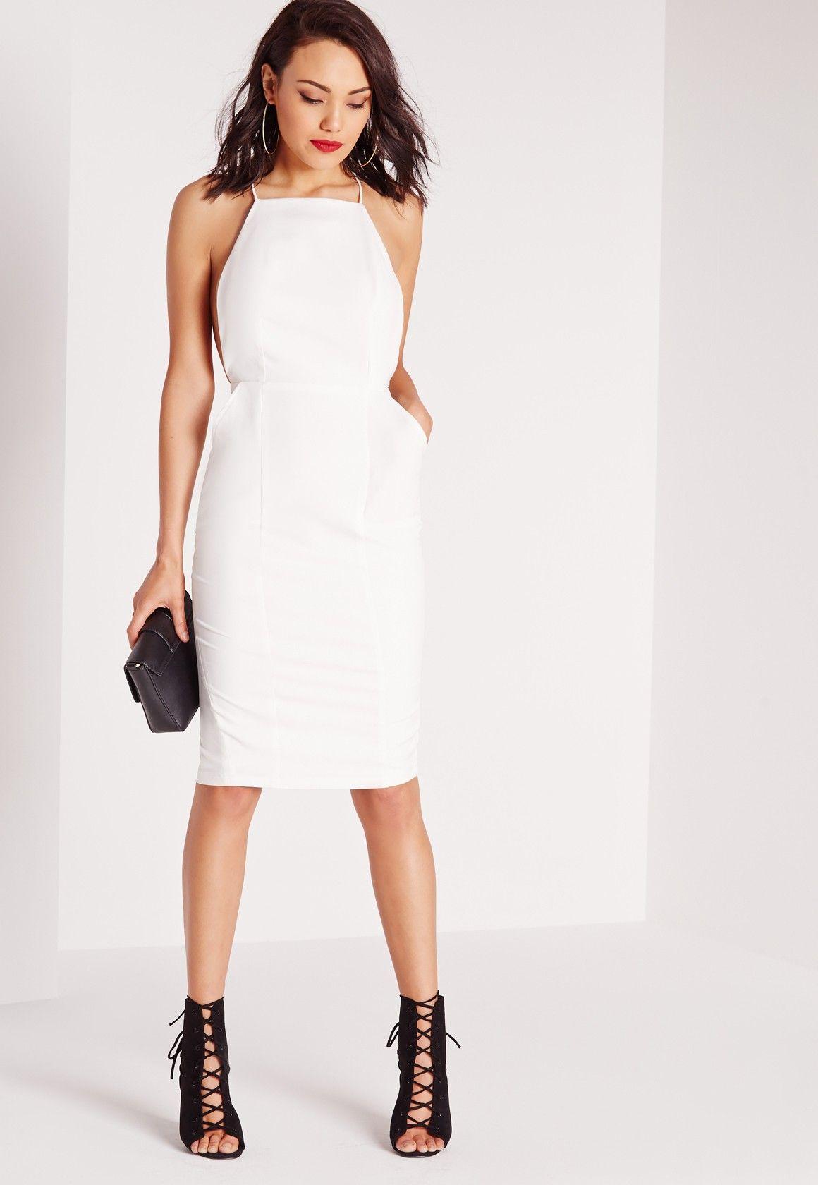 Missguided Square Neck Spaghetti Strap Midi Dress White White Midi Dress Dresses White Dresses Graduation