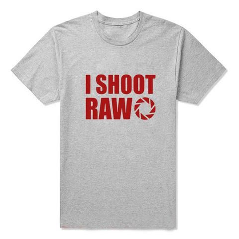 New Summer Style I SHOOT RAW T-shirt Funny Photographer tee Gift T Shirt Men Casual Short Sleeve Top Tees