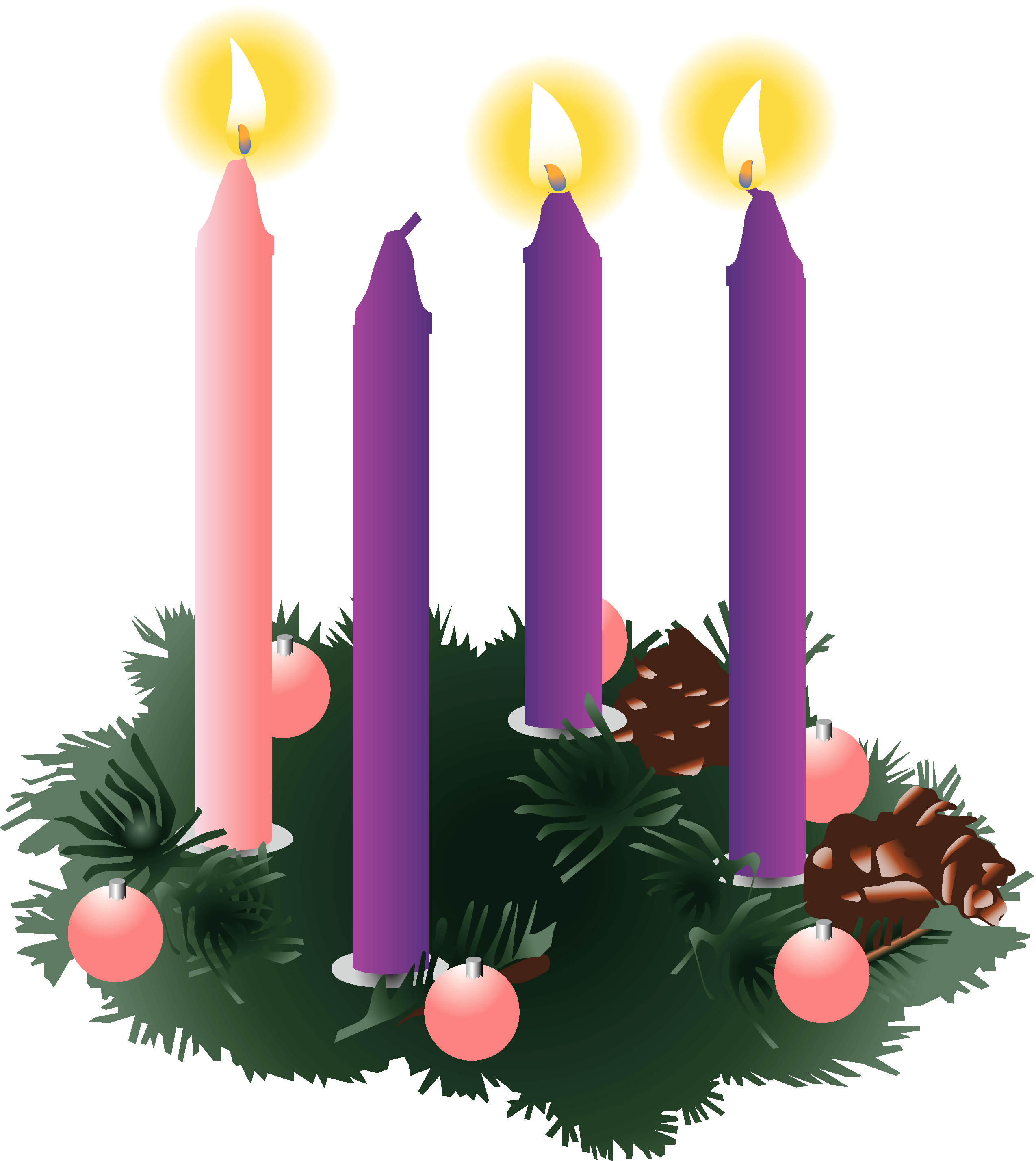 Four Purple Advent Candles Three Lit Png 2550 2858 Advent Candles Advent Wreath Candles Advent Candles Meaning
