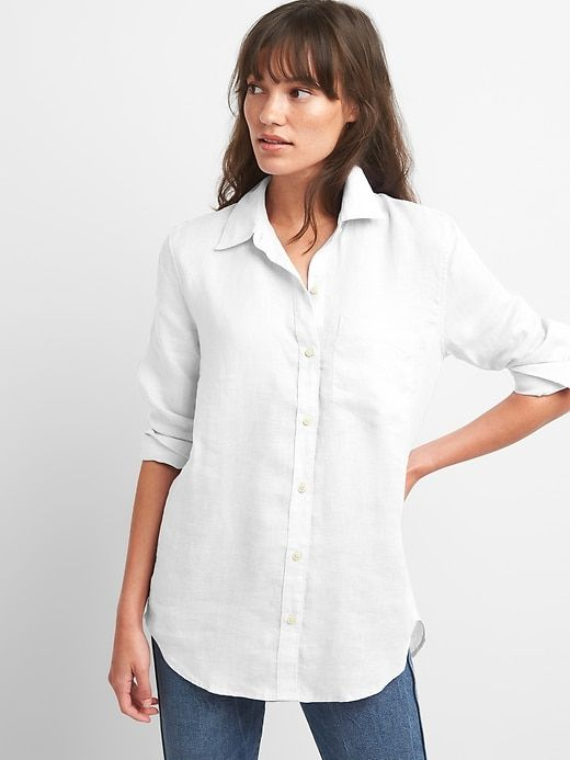 ca1e5349 Gap Womens Oversize Boyfriend Shirt In Linen White | Simple Wearing ...