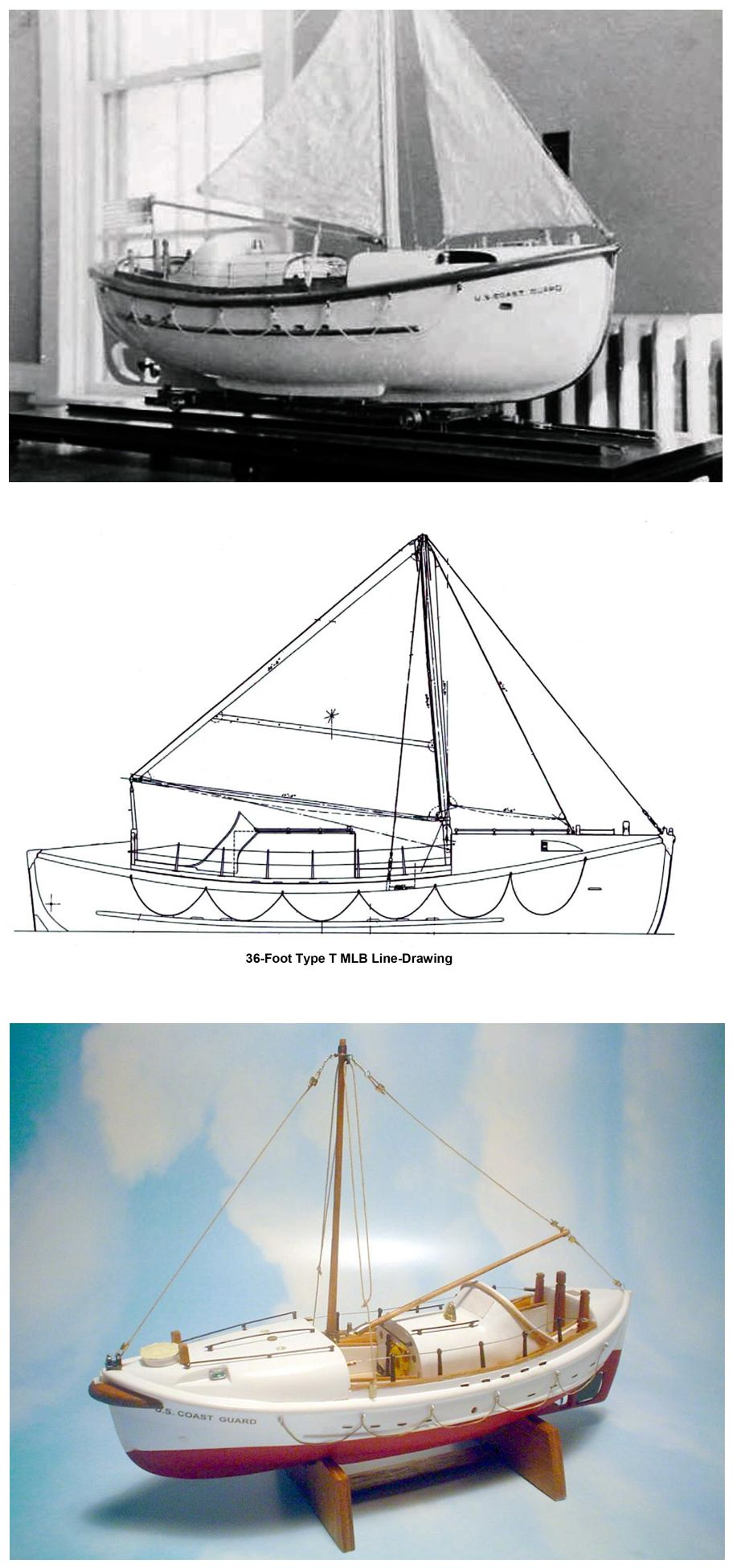 Scale Models And A Line Drawing Of A Us Coast Guard Type T 36 Ft