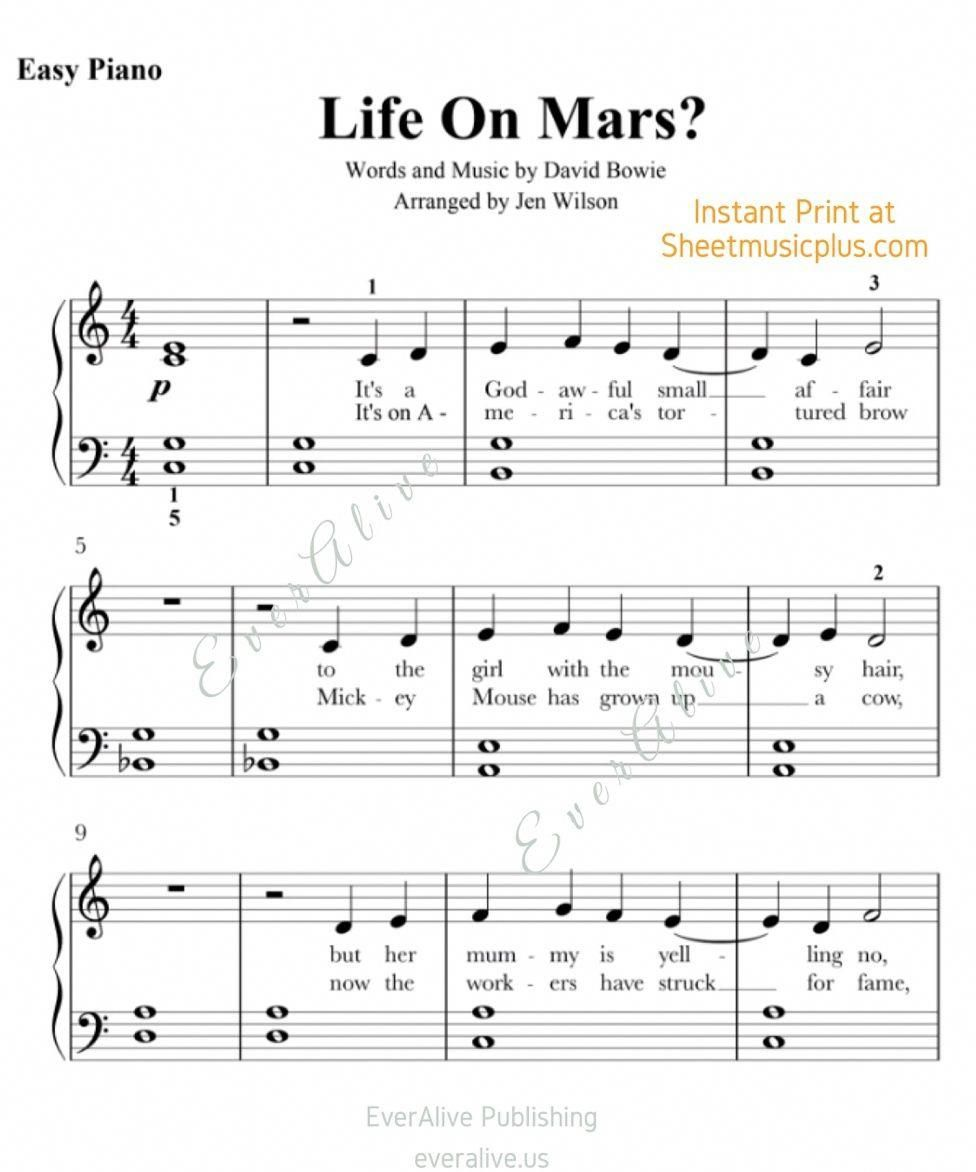 Life On Mars Easy Piano Sheet Music Instant Print Davidbowie