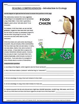 Ecology Reading Comprehension Worksheet Reading Comprehension Worksheets Science Teaching Resources Reading Comprehension