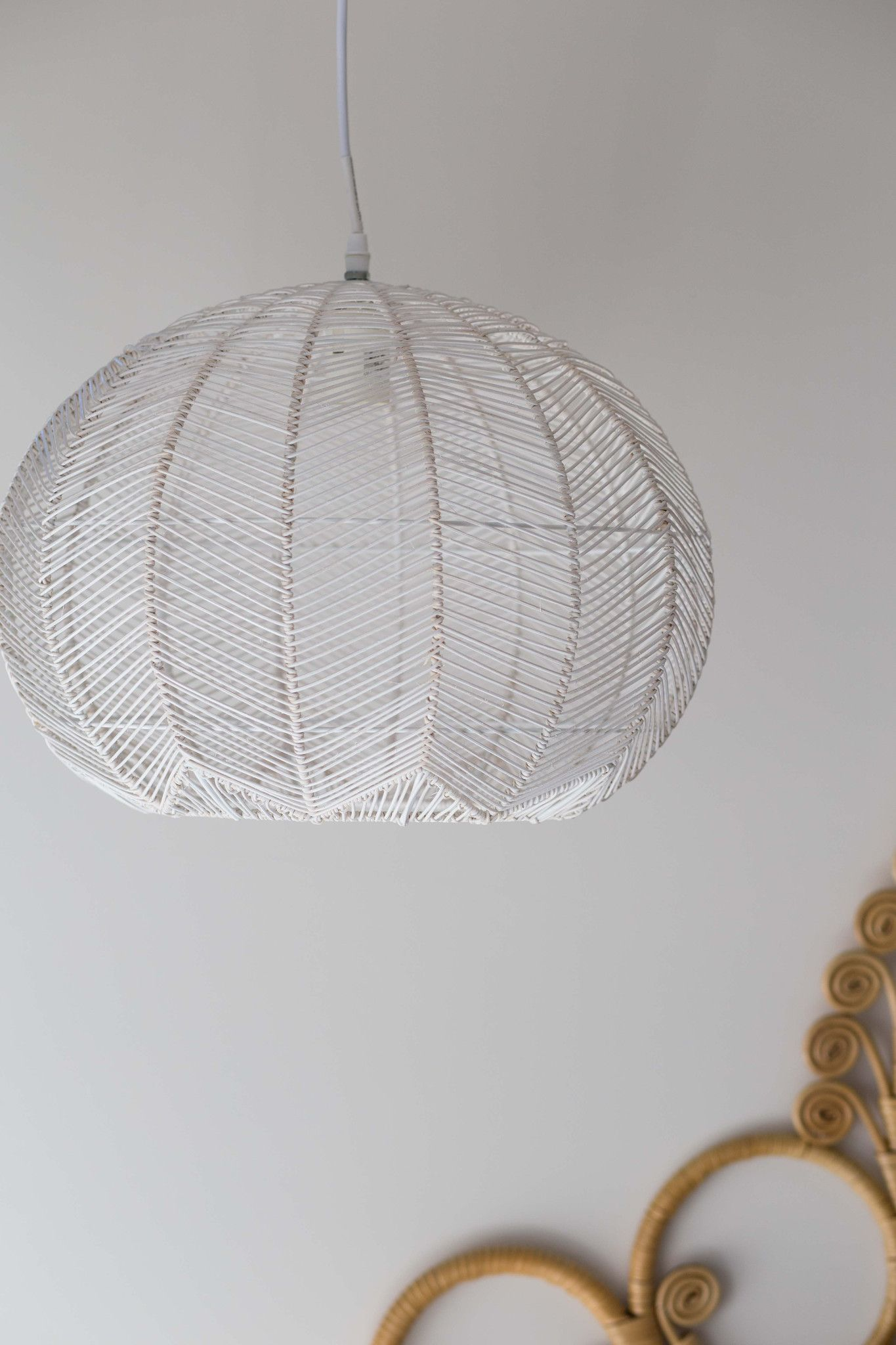White Round Rattan Pendant Pre Order My Little Apartment Electrical Wiring Light Fixture Ceiling Canopy Lighting Products Canopies