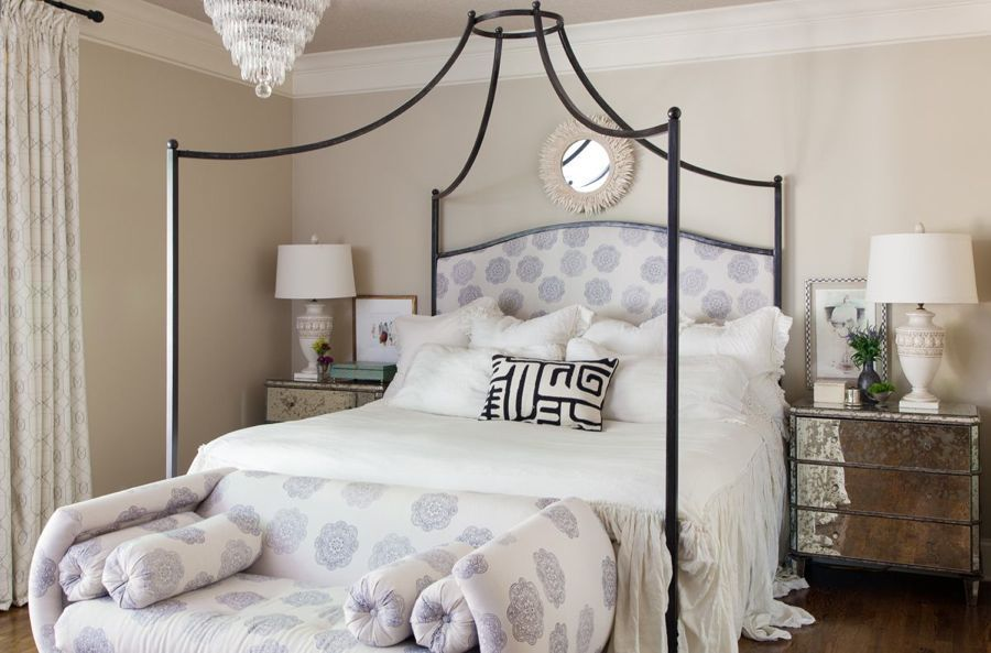 "Julie Couch Interiors - ""House Envy"" our master bedroom, I chose feminine bedding and a John Robshaw block print for my headboard and 1960′s settee. Even though I designed the bed myself, after six years, I still love it!"