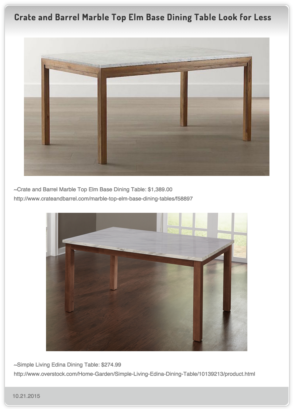 Crate And Barrel Marble Top Elm Base Dining Table $1,389.00 Vs Simple  Living Edina Dining Table