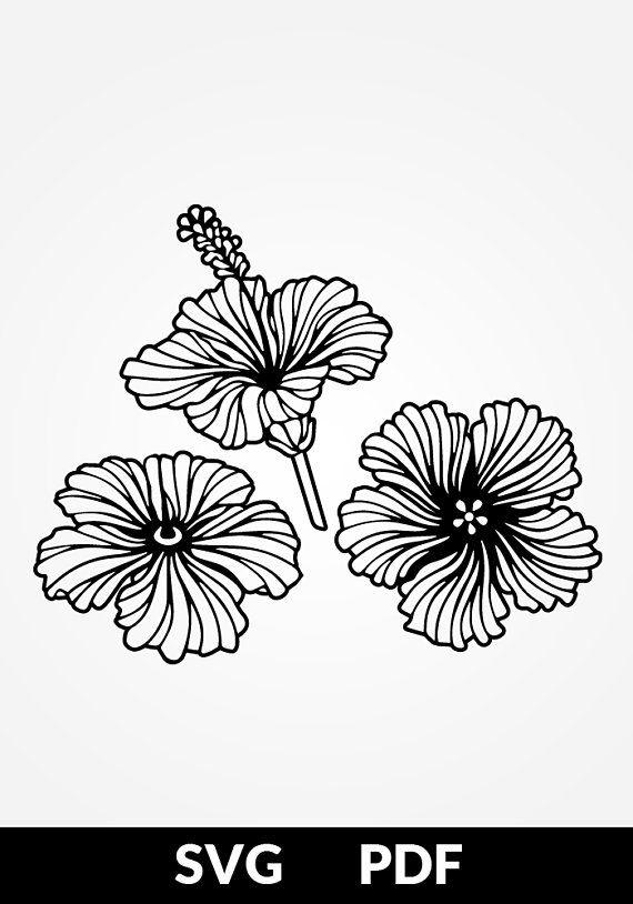 3 Designs   Pdf Cut File  Papercutting Template  Flowers Hibiscus  Papercut  Digital
