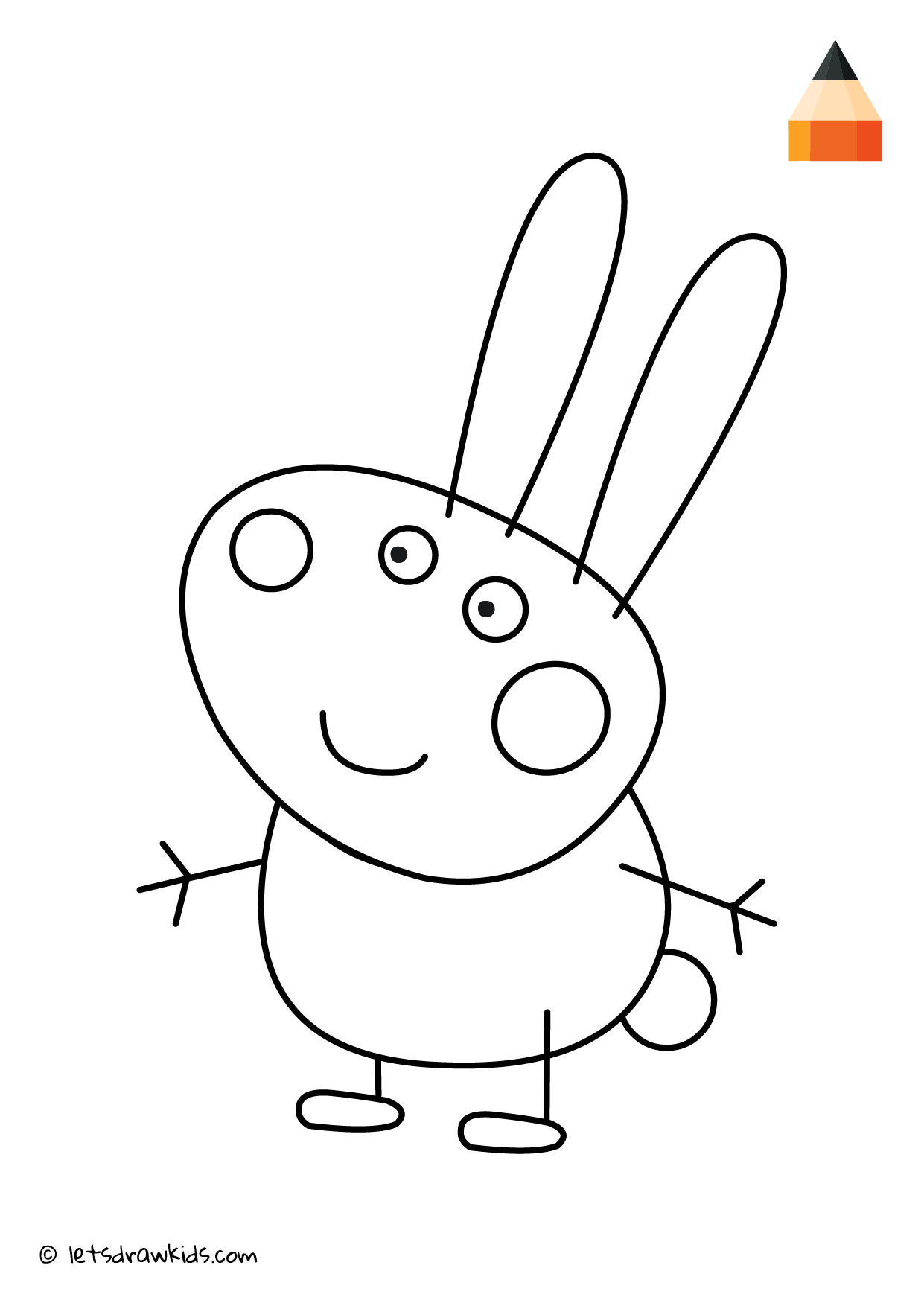 Coloring Page Peppa Pig Richard Rabbit Peppa Pig Coloring Pages Barbie Drawing Art Drawings For Kids