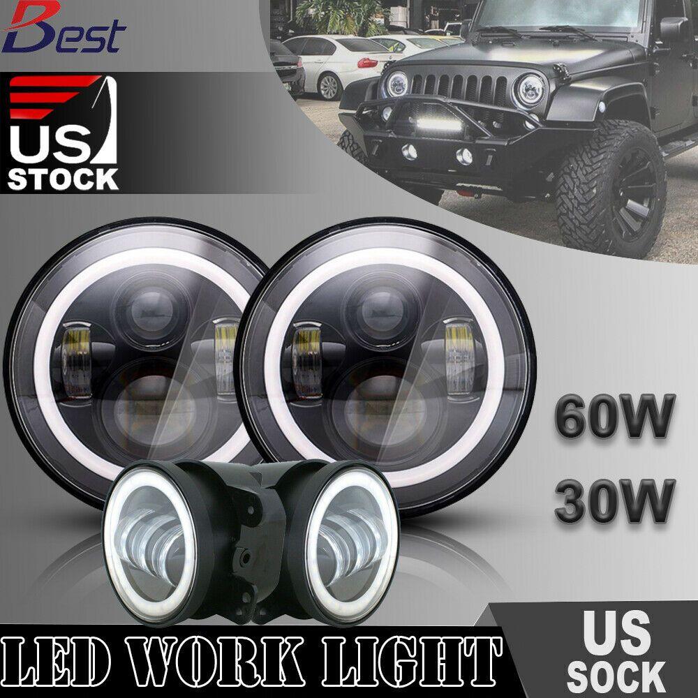 Ad Ebay Dot 7 60w Led Headlights Halo W Drl 4 Fog Lights For