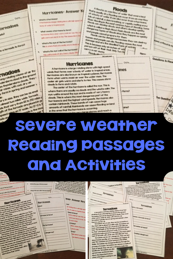 Severe Weather Reading Passages And Comprehension Questions Reading Passages Severe Weather Differentiated Reading Passages