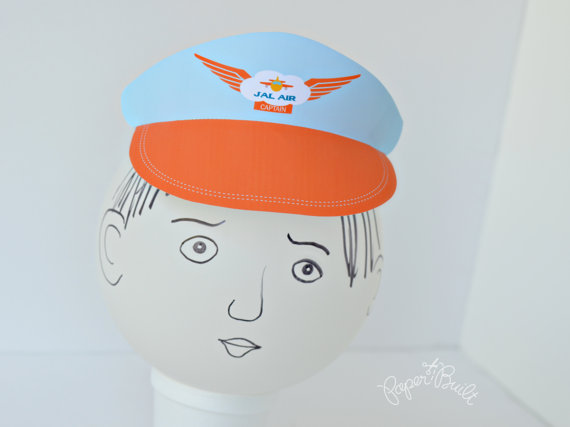 Printable Airplane Birthday Party Pilot Hat By PaperBuiltShop 400