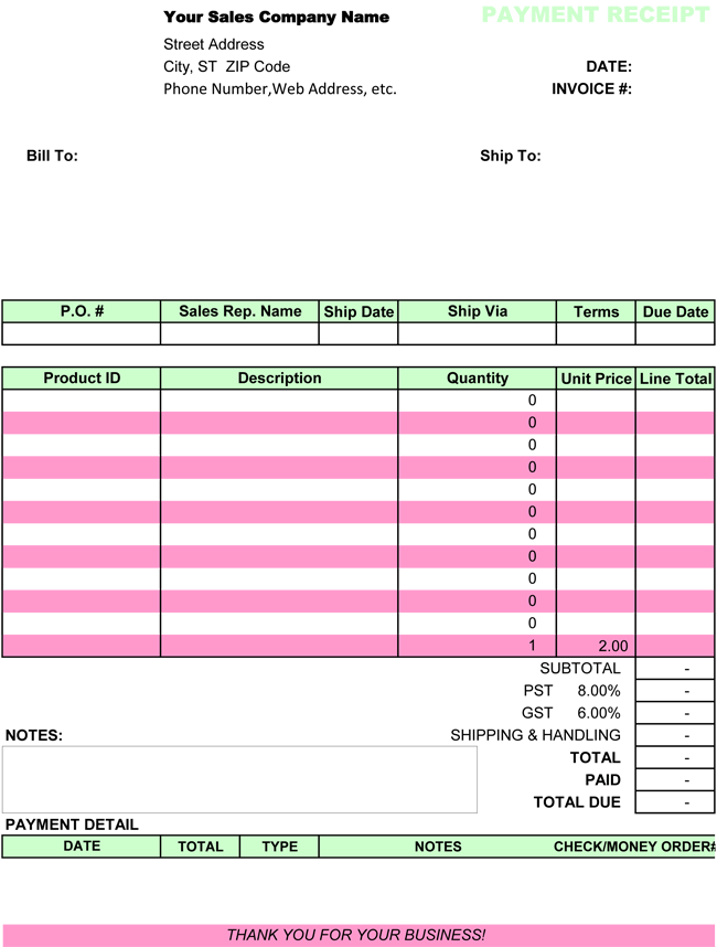 Free Template For Receipt Of Payment 10 Payment Receipt Templates  Free Printable Word Excel & Pdf .