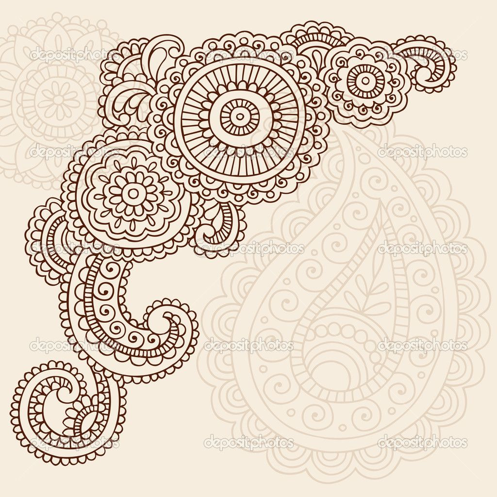 Mehndi Flower Chadar : Henna mehndi pasiley flowers doodles vector — stock