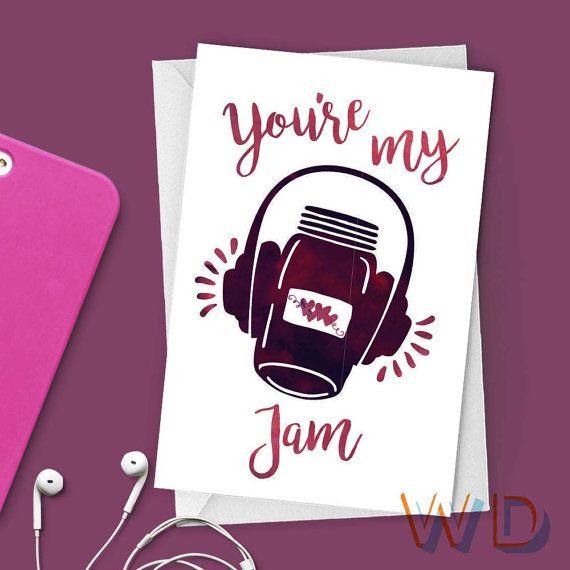 Greeting card youre my jam valentine stationery note card youre my jam valentine watercolor greeting card headphones music hearts m4hsunfo