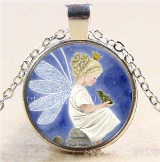 Hot fairy and frog photo cabochon glass tibet silver chain pendant hot fairy and frog photo cabochon glass tibet silver chain pendant necklace handmade pendant aloadofball Image collections