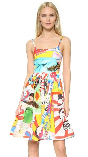 Multicolored Moschino  casual dress  for woman A soft Moschino dress with a bold pattern of ads and Powerpuff Girls. Feminine silhouette with tailored bodice and full skirt. Slim straps. Hidden back zip. Lined. Fabric: Soft voile. Shell: 61% cotton/39% silk. Lining: 100% rayon. Dry clean. Imported, Hungary. Measurements Length: 37.75in / 96cm, from shoulder Measurements from size 40. Available sizes: 38,40 #vestidoinformal #camisole #túnica #shift #pleat #pleated #drape #t-shape #daisy…