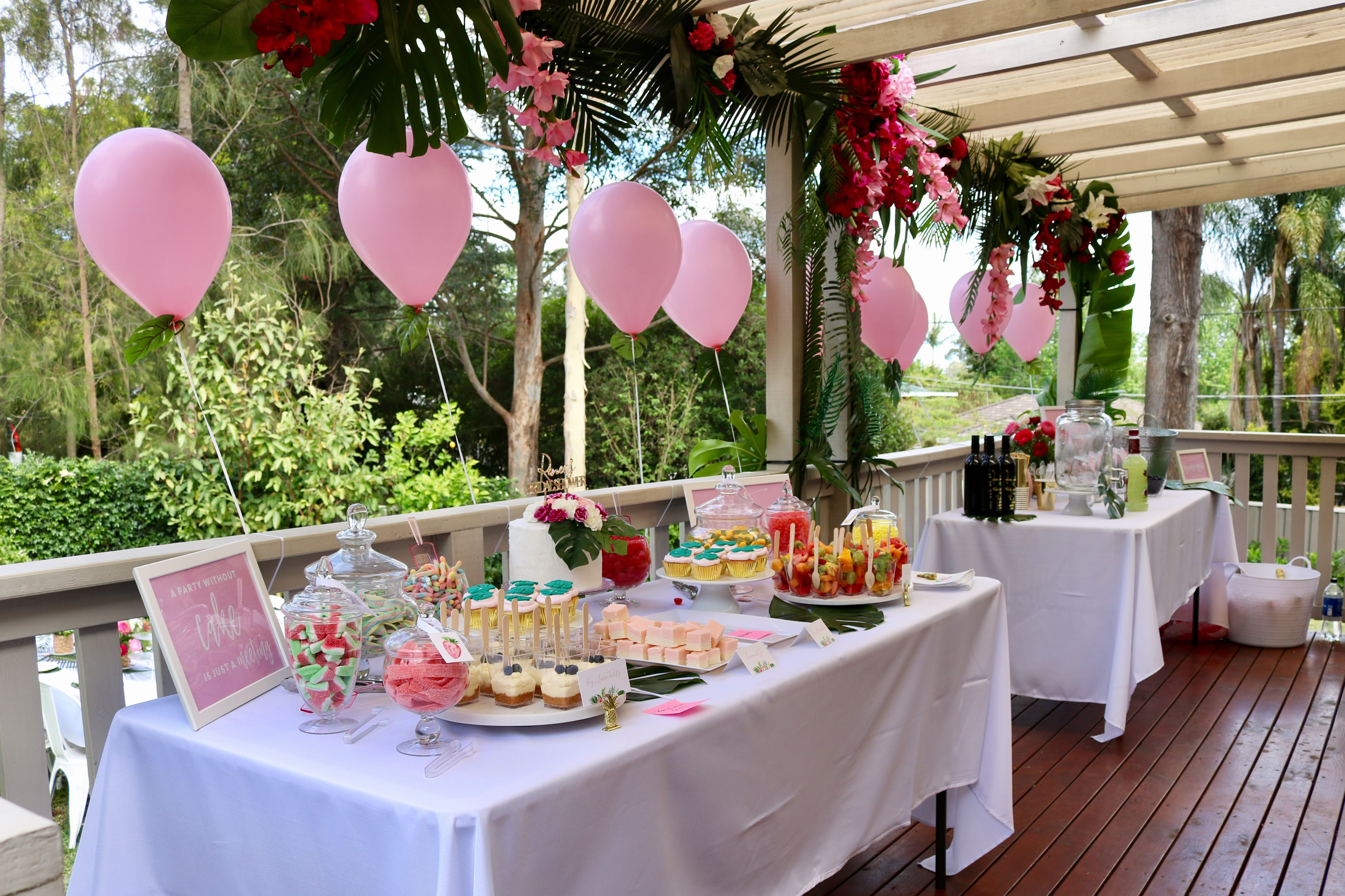 Tropical Bridal Shower Decor  Kitchen Tea Ideas  Pink Balloons
