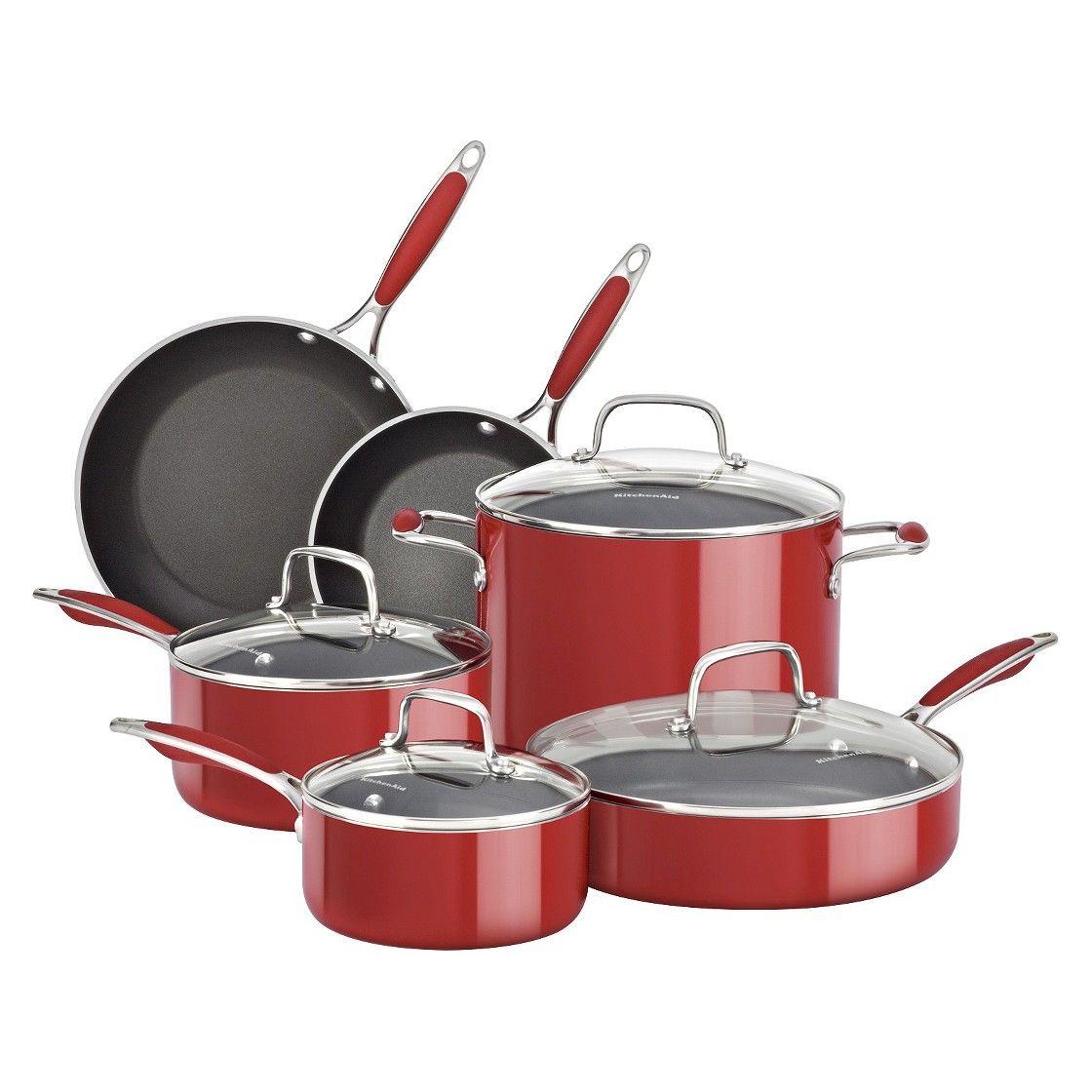 Kitchenaid 10 piece aluminum cookware set red cookware