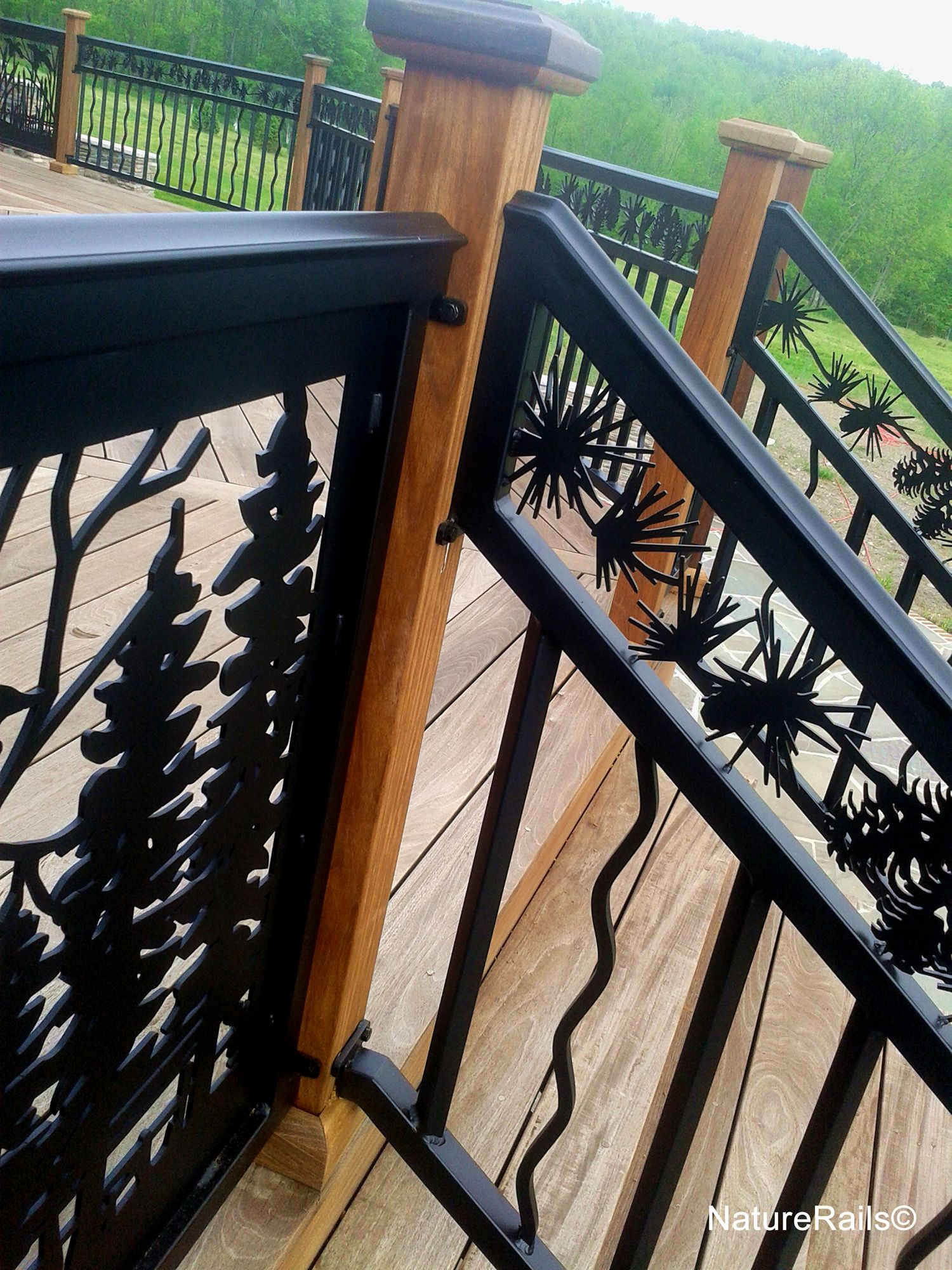 Best Custom Deck Railings With Pine Cone Border By Naturerails Durable Powder Coated Steel Or 640 x 480
