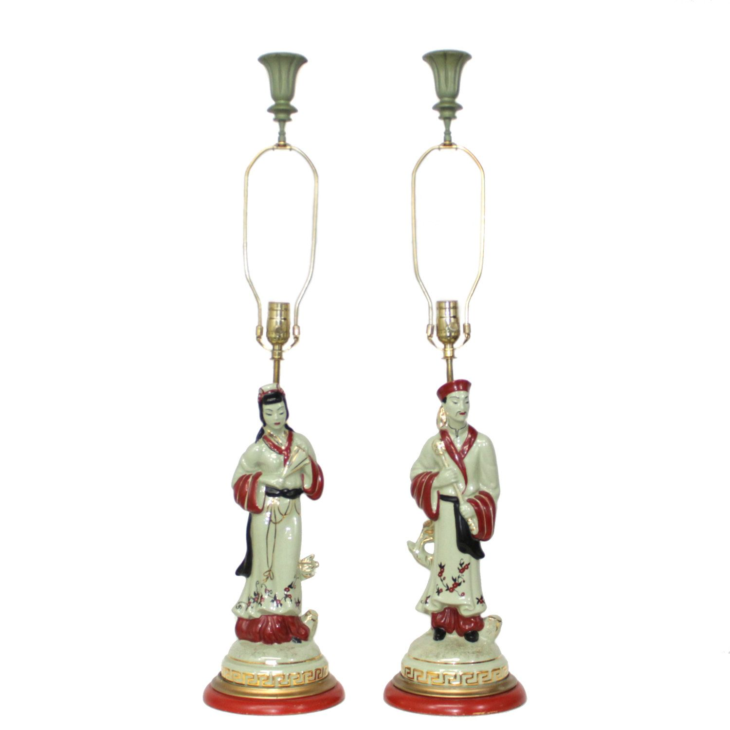 Pair chinoiserie pottery lamps figural asian man and woman pair chinoiserie pottery lamps figural asian man and woman hollywood regency by retrosymphony on arubaitofo Choice Image