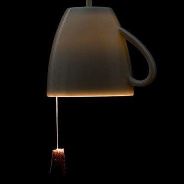 tea cup + tea bag lamp
