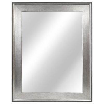 Home Decorators Collection 23 In W X 29 In H Framed Rectangular Anti Fog Bathroom Vanity Mirror In Two Toned Pewter 81158 The Home Depot Frames On Wall Framed Mirror Wall Mirror Decor