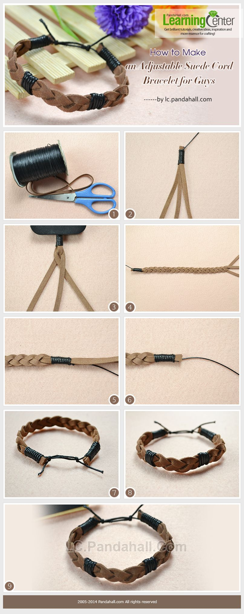 How To Make An Adjustable Suede Cord Bracelet For Guys Mens
