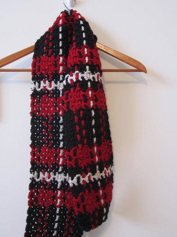Plaid Crochet and Woven Scarf - Red White Black - Unisex