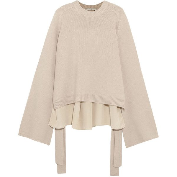 Tibi Silk-paneled cashmere sweater ($995) ❤ liked on Polyvore ...