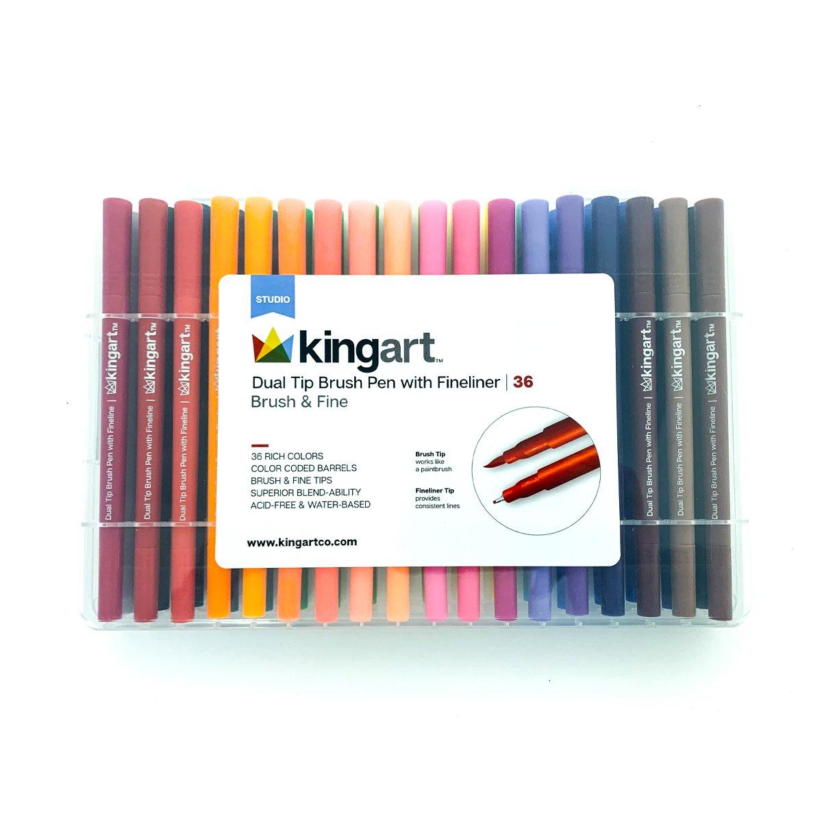 Studio Dual Tip Brush Pen Art Markers With Fineliner Set Of 36