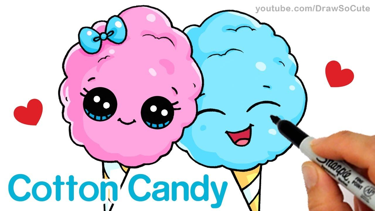 How To Draw Cartoon Cotton Candy Cute And Easy Step By Step Cute