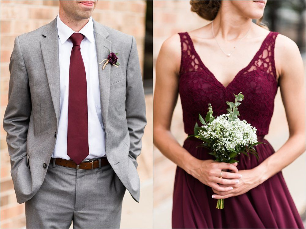 Burgundy And Gray Wedding Party Outfits Maddie Peschong Photography Burgundy And Grey Wedding Gray Wedding Party Wedding Party Outfits