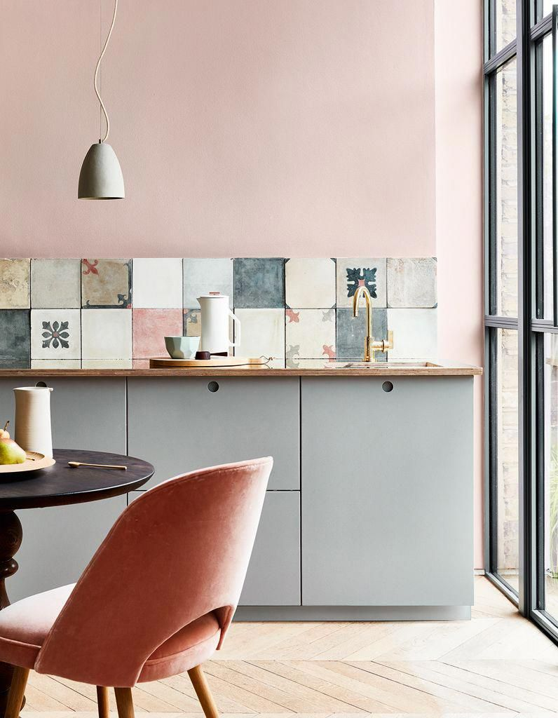 Cuisine rose poudré #cocinasColores  Diseño de interiores de