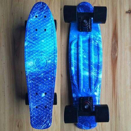 "Graphic Series Blue Marble Galaxy Board on Black Wheels 22"" Mini Cruiser Penny Style Skateboard"