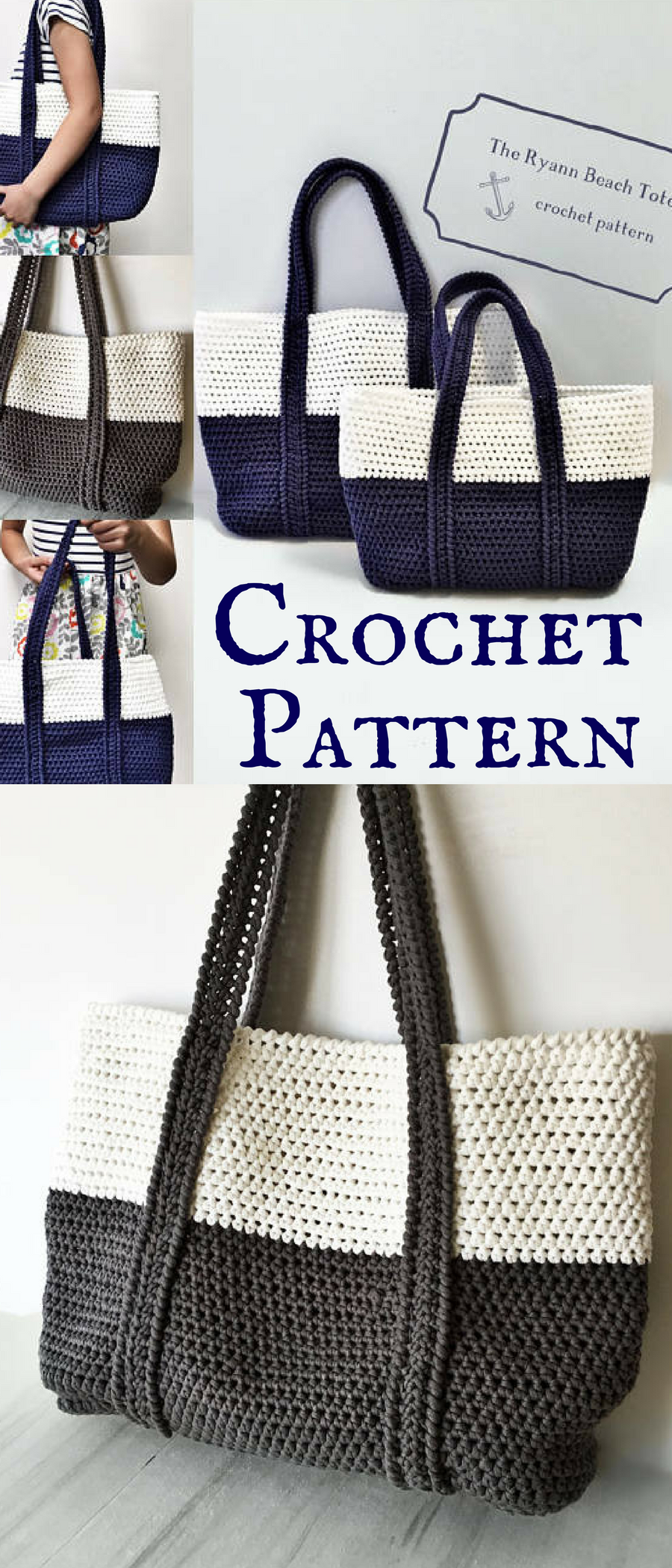Great Crochet Beach Bag Pattern. I love the colorblock design. This ...