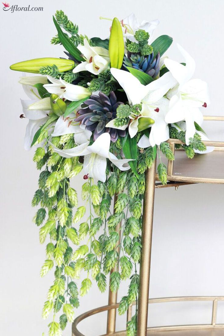 Tropical Bouquet Filled With Greenery And Succulents Green Is