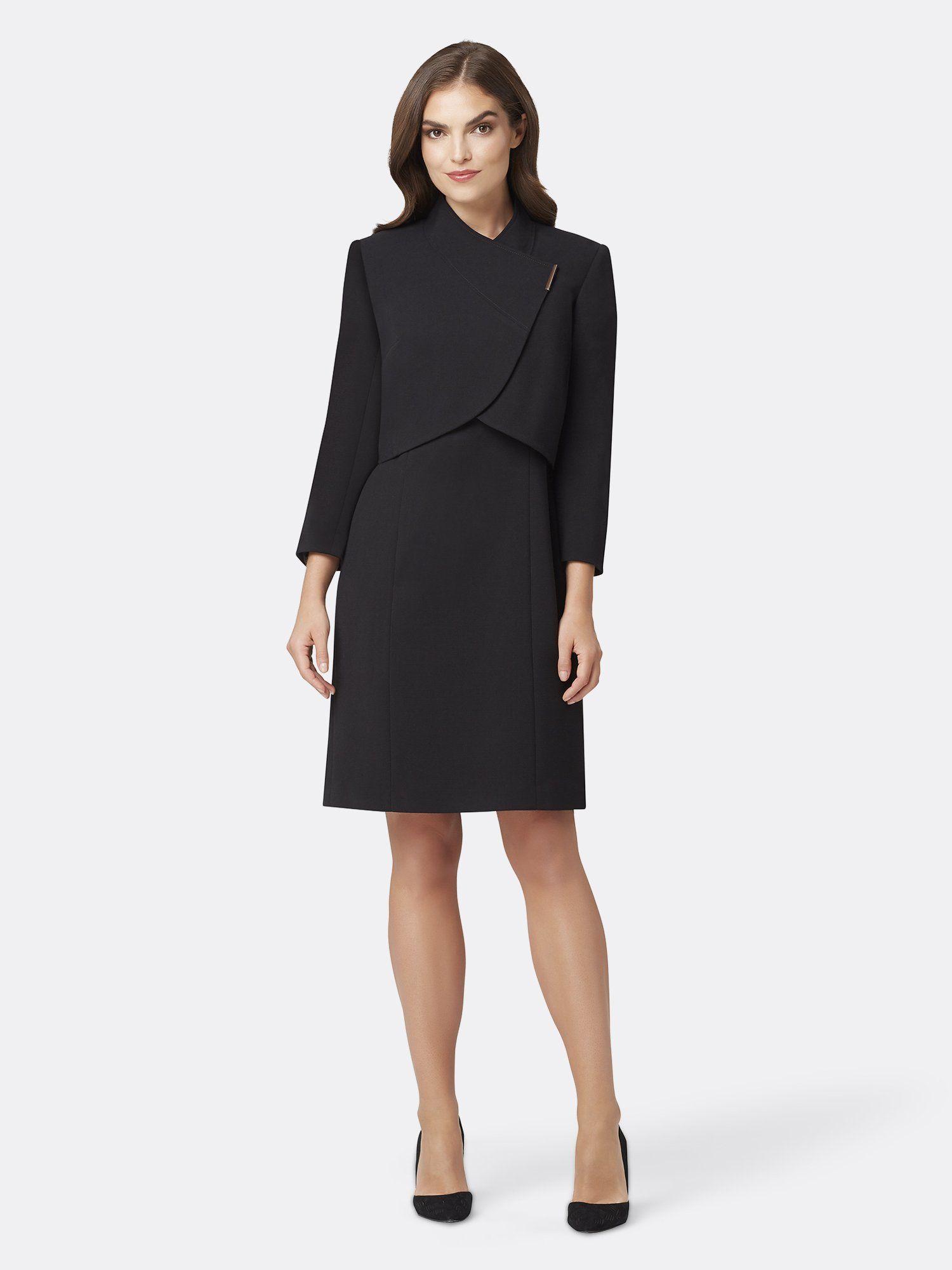 Asymmetric Double Weave Jacket Dress Black 16 In 2021 Jacket Dress Set Black Dress Jacket Interview Outfits Women [ 2000 x 1500 Pixel ]