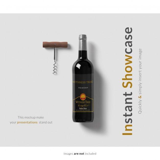 Mock Up De Botella De Vino Psd Gratis Botellas De Vino Botellas Disenos De Unas