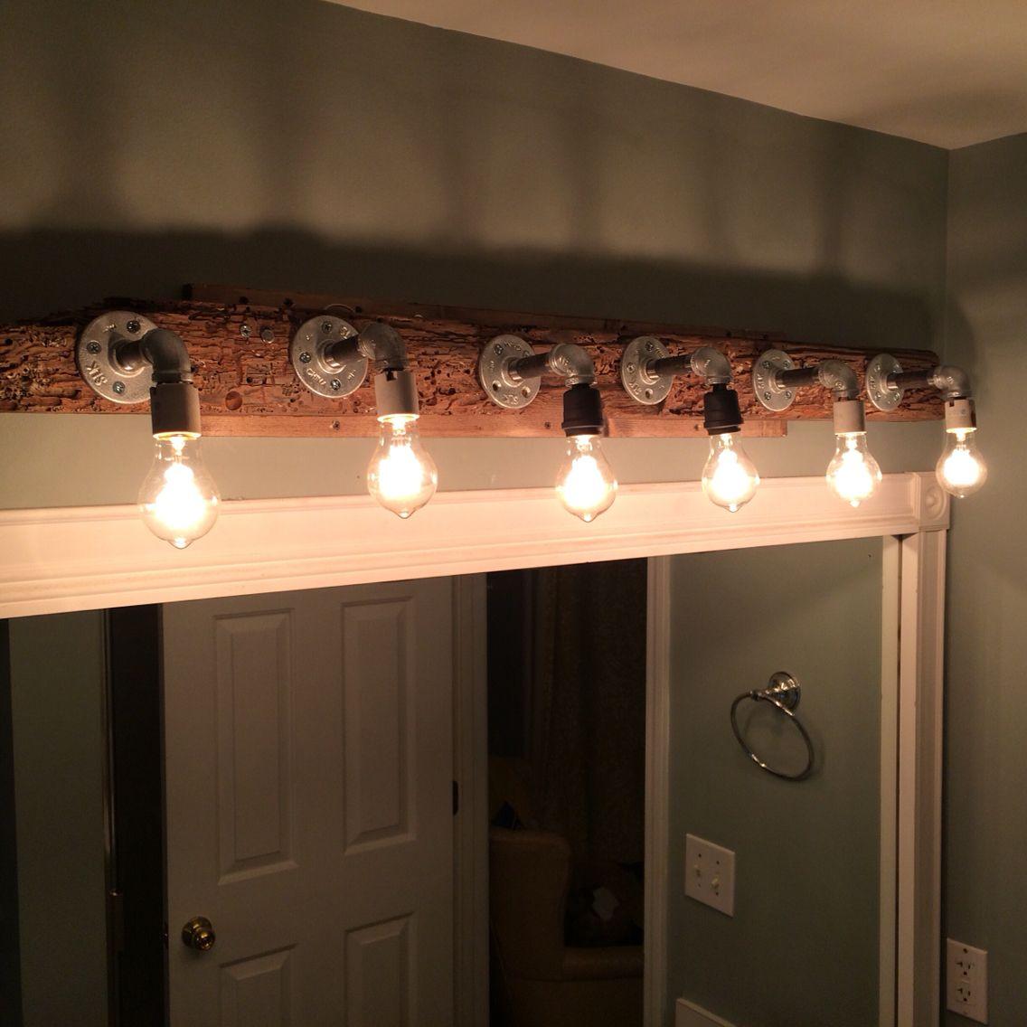 Driftwood bathroom vanity light   We did this!   Pinterest ...