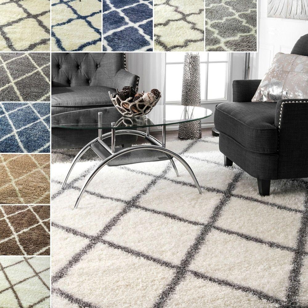 nuloom soft and plush moroccan trellis or diamond shag rug (8' x