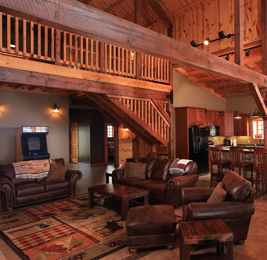 Post And Beam Barn Home Interior Example